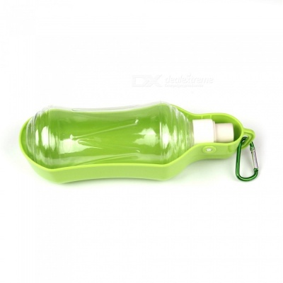 Portable Travel Pet Dog Cat Water Bottle Drinking Water Plastic Bowl - Green (500ML)