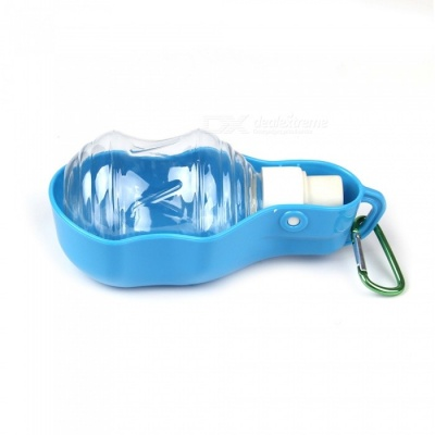 Portable Travel Pet Dog Cat Water Bottle Drinking Water Plastic Bowl - Blue (250ML)