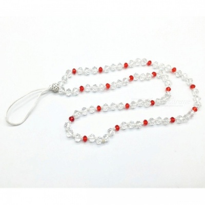 Kelima Creative Hand-Made Round Beaded Hanging Chain for Mobile Phone - White