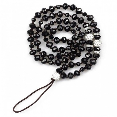 Kelima Creative Hand-Made Round Beaded Hanging Chain for Mobile Phone - Black