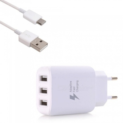 Fast Charging 3-Port USB Wall Charger Travel Adapter + 100cm Quick Charge USB 3.1 Type-C Charging Sync Cable Set
