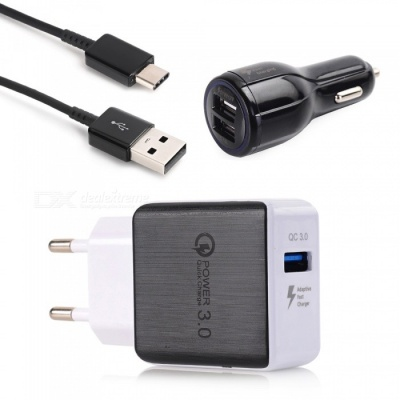 Quick Charge QC3.0 USB Power Adapter AC Charger + Dual USB Car Charger + 100cm USB 3.1 Type-C Cable - Black (EU Plug)