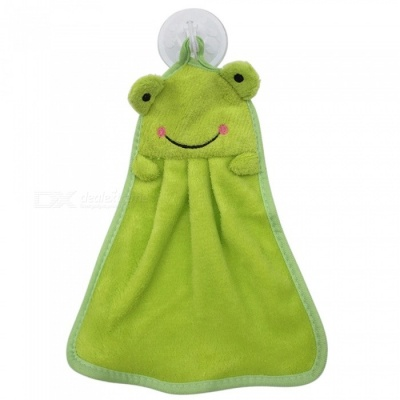 Animal Cartoon Pattern Super Soft Coral Velvet Water Absorption Haning Towel for Kids - Green