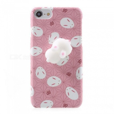 Cartoon 3D Rabbit Cute Protective Back Cover Case with Pressure Relieve Function for IPHONE 7 Plus - Pink