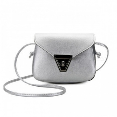 Stylish Mini One-shoulder Bag with Metal Lock for Women Girls - Silver