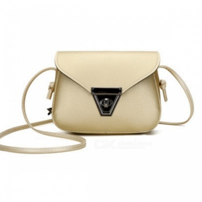 Stylish Mini One-shoulder Bag with Metal Lock for Women Girls - Gold
