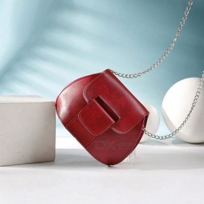 Creative Shell Style Mini Shoulder Bag with Metal Chain for Women Girls - Red