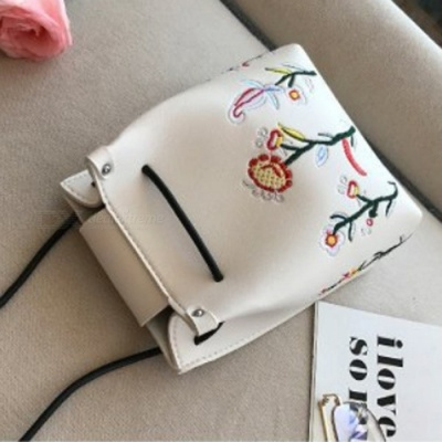 Stylish Mini Flower Embroidered PU Leather Bag for Cell Phones and Small Items - White