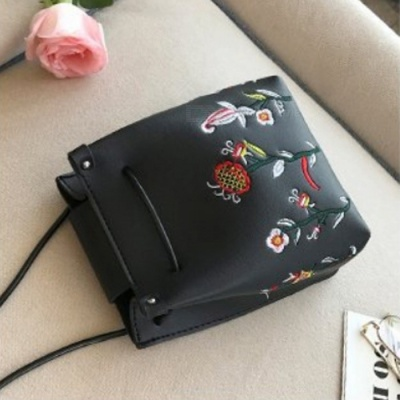 Stylish Mini Flower Embroidered PU Leather Bag for Cell Phones and Small Items - Black
