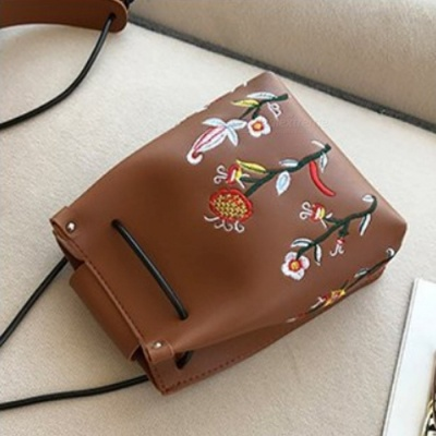 Stylish Mini Flower Embroidered PU Leather Bag for Cell Phones and Small Items - Dark Brown