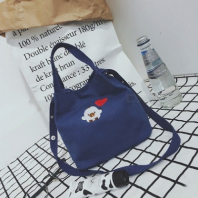 Simple Canvas Embroidered Bag Preppy Style student Crossbody Bag - Dark Blue