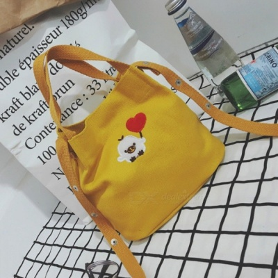Simple Canvas Embroidered Bag Preppy Style student Crossbody Bag - Yellow