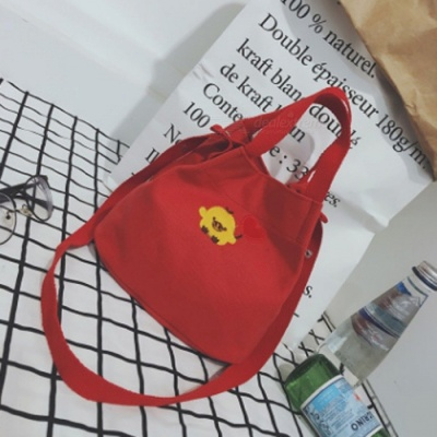 Simple Canvas Embroidered Bag Preppy Style student Crossbody Bag - Red