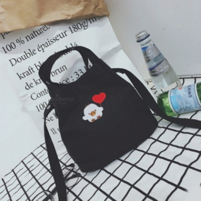 Simple Canvas Embroidered Bag Preppy Style student Crossbody Bag - Black