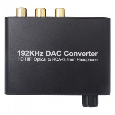 Digital to Analog Fiber Optic SPDIF Coaxial to Analog 5.1 Audio Decoder with Volume Control - Black