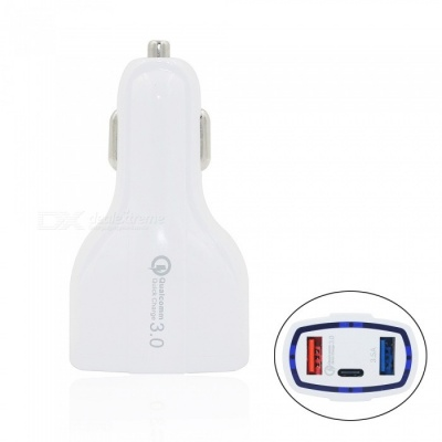 Mini Smile 35W QC3.0 2-Port USB Quick Charge Car Charger Adapter with PD, Type-C Port for Samsung Galaxy S9 / S9 Plus - White