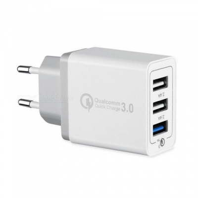 30W USB 3 Port QC 3.0 Fast Quick Charge Wall Charger Adapter - White (EU Plug)