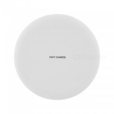 Round Shaped 10W Fast Charge Qi Wireless Charger Pad for Galaxy S9 / S9+/S8 Plus/ s8 / IPHONE X / 8 / 8 Plus - White