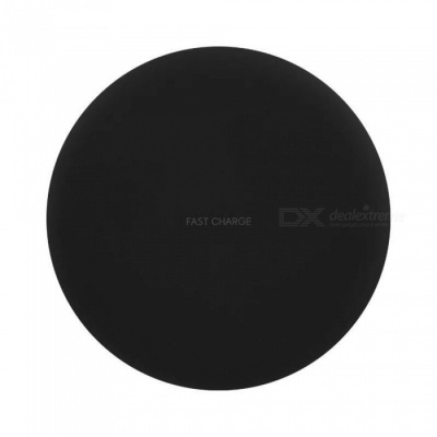 Round Shaped 10W Fast Charge Qi Wireless Charger Pad for Galaxy S9 / S9+/S8 Plus/ s8 / IPHONE X / 8 / 8 Plus - Black