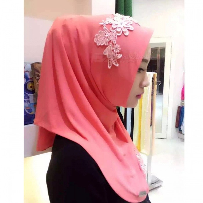 Muslim Headdress Lace Embroidery Summer Head Cover for Women - Red