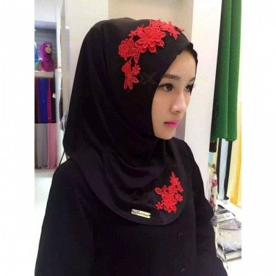 Muslim Headdress Lace Embroidery Summer Head Cover for Women - Black