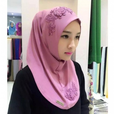 Muslim Headdress Lace Embroidery Summer Head Cover for Women - Pink