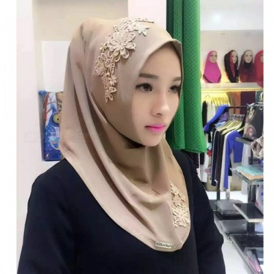 Muslim Headdress Lace Embroidery Summer Head Cover for Women - Brown