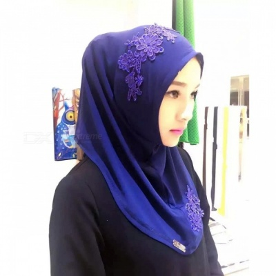 Muslim Headdress Lace Embroidery Summer Head Cover for Women - Blue