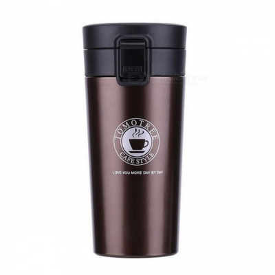 Fashion Stainless Steel Vacuum Thermos Cup Coffee Mug Insulation Water Bottle - Brown (380ml )