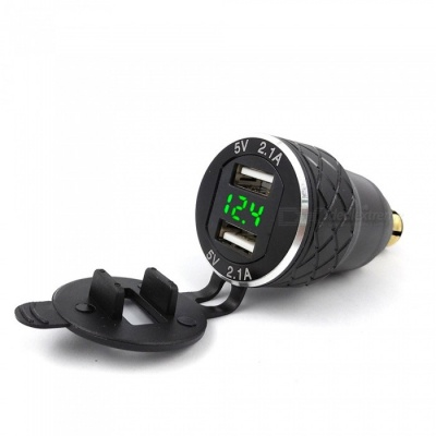Eastor Aluminum Metal Shell Dual USB Charger w/ 4.2A Green Light Voltmeter for BMW Motorcycle - Black