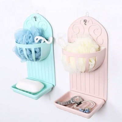 Creative Wall Mounted Double-Deck Kitchen Bathroom Rack with Soap Box - Random Color