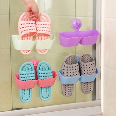 Suction Cup Simple Wall Mounted Plastic Shoe Rack Holder - Blue