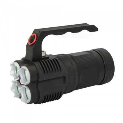 ZHAOYAO XML-L2 4-LED Portable Handheld Rechargeable Flashlight, Outdoor Aluminum Alloy LED Searchlight - Black