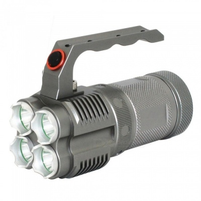 ZHAOYAO XML-L2 4-LED Portable Handheld Rechargeable Flashlight, Outdoor Aluminum Alloy LED Searchlight - Grey
