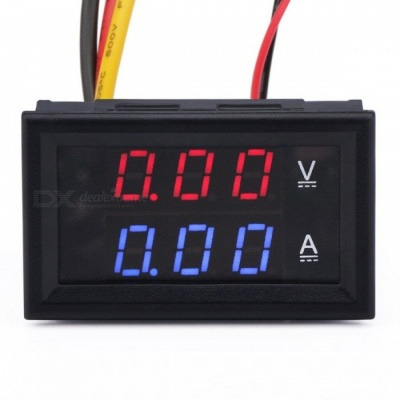 DC0-100V/50A LED DC Dual Display Digital Current and Voltage Meter w/ Red and Blue Display + Shunt
