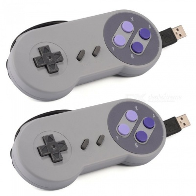 2Pcs USB Classic Gamepad, Game Controller for SNES - Gray + Purple
