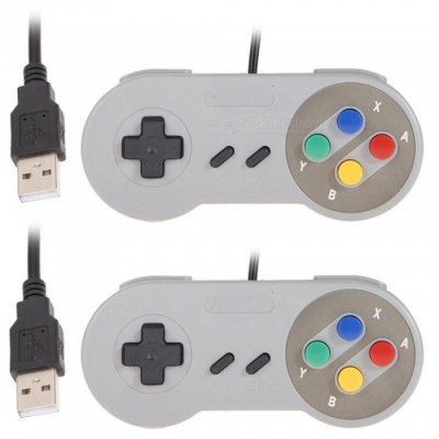 2Pcs USB Classic Gamepad, Game Controller for SNES - Gray + Blue
