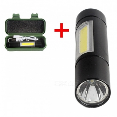 AIBBER TONE Mini Small USB Charging Telescopic Zoom 3-Mode Flashlight with Side Light, Built-in Battery