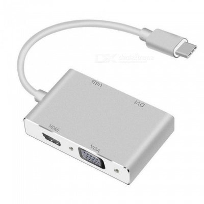 Dayspirit USB-C Type-C to HDMI VGA DVI USB3.0 Adapter, 4-in-1 USB 3.1 Type-C Converter for Macbook