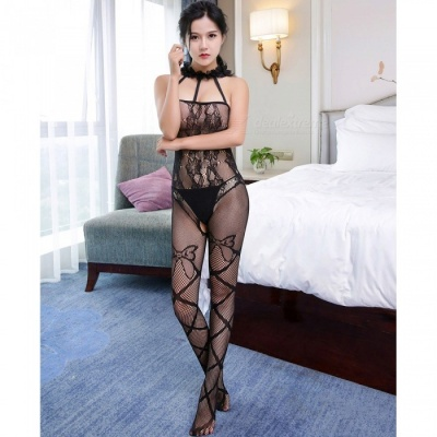 Fanshimite Transparent One-piece Net Stockings, Tight-Fitting Sexy Lingerie for Women - Black