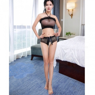 Fanshimite Sexy Wrapped Chest Translucent Split Type Net Lingerie for Woman - Black