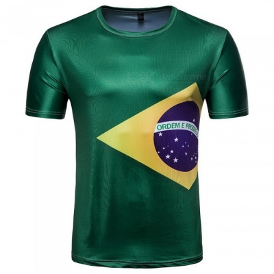 2018 Russian World Cup Men's Selecao Brazil Team Style Short-sleeved Round Collar T-shirt - Green (L)