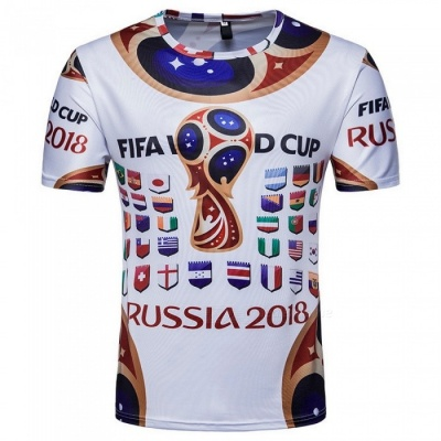 2018 Russian World Cup Men's Short Sleeves Commemorative T-Shirt - White (M)