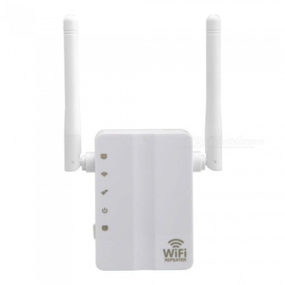 Mini Wireless N Router, 300Mbps Wi-Fi Repeater, Long Range Extender Booster - White (US Plug)