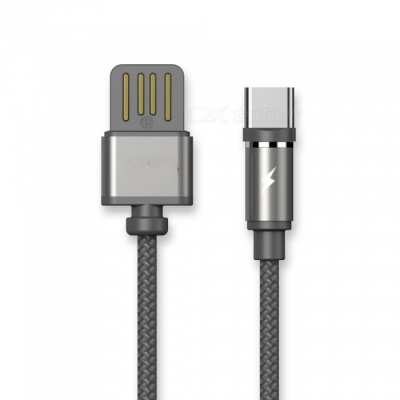 Magnetic USB Type-C Lightning Plug Charging Cable with LED Light - Black