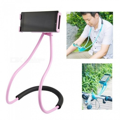 Lazy Bracket Mobile Phone Neck Hanging Stand Holder for IPHONE, Samsung - Pink