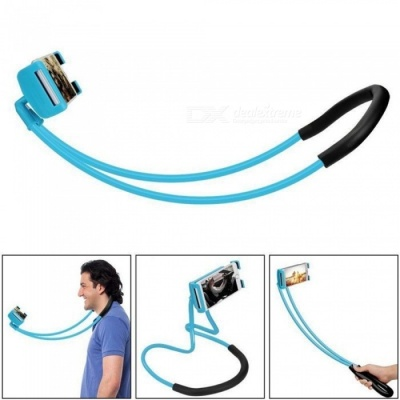 Lazy Bracket Mobile Phone Neck Hanging Stand Holder for IPHONE, Samsung - Blue