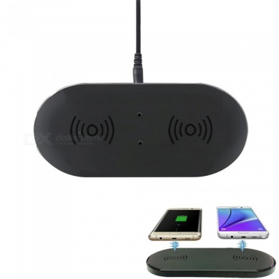 Cwxuan Dual Qi Wireless Charger Pad w/ Dual Transmitter for IPHONE X, 8, 8 Plus Samsung Galaxy S9 S8 - (US Plug)
