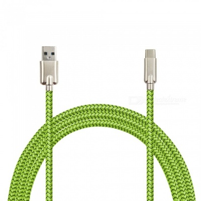 Mini Smile 3.4A Zinc Alloy Quick Charge USB 3.1 Type-C Charging / Data Transfer Cable for Samsung Galaxy S9 / S9 Plus - Green