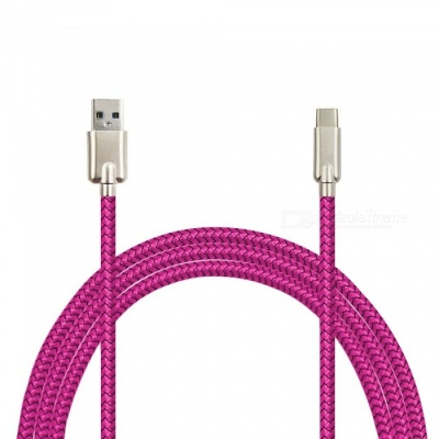 Mini Smile 3.4A Zinc Alloy Quick Charge USB 3.1 Type-C Charging / Data Transfer Cable for Samsung Galaxy S9 / S9 Plus - Rose Red